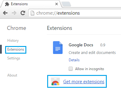 Get More Extensions Link on Google Chrome Broswer