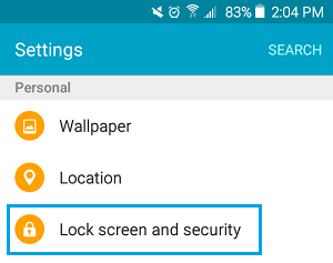Lock Screen Security and Security Settings Option on Android Phone