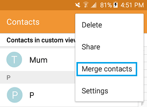Merge Contacts on Android Phone