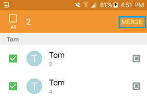 Merge Selected Contacts on Android Phone