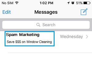 Pantalla de mensajes en iPhone