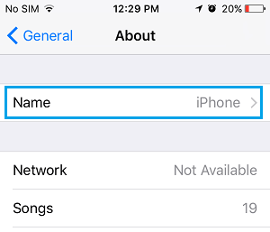Name Option on iPhone