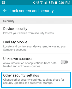 Other Security Settings Option on Android Phone