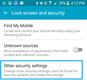 Other Security Settings Option on Android