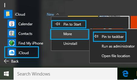 Pin iCloud to Start Taskbar