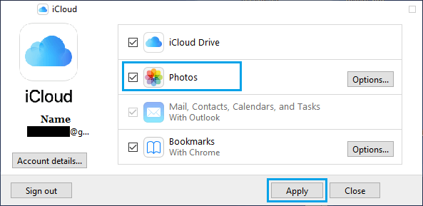 Select iCloud Photos on PC