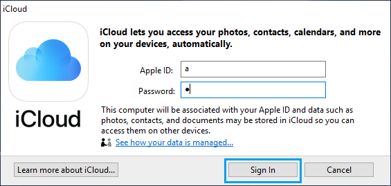 Sign-in to iCloud For PC