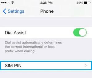 Sim Pin Option on iPhone