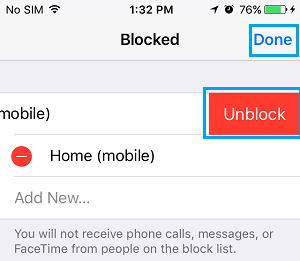 Unblock Caller on iPhone