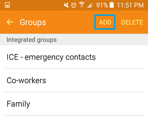 Add Contact Group Tab on Android Phone