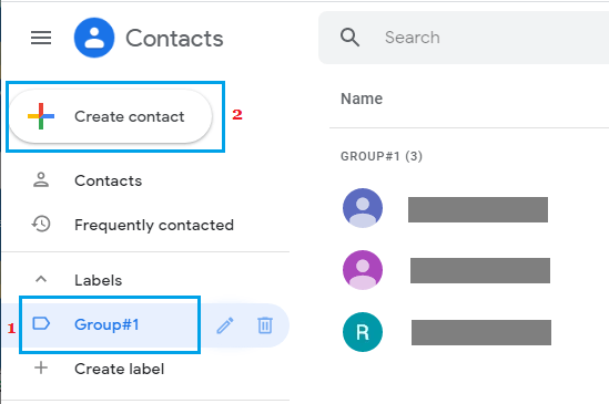 Create New Contact in Contact Group