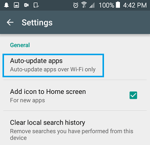 Auto Update Apps Option on Android Phone
