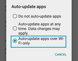 Auto Update Apps Over WiFi Only Option on Android Phone