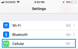 Cellular Data Settings Option on iPhone