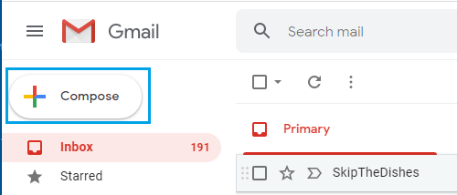 Compose Mail Option in Gmail
