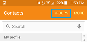 Contact Groups Tab on Android Phone