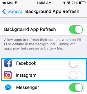 Disable Background App Refresh For Apps on iPhone