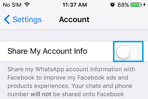 Disable WhatsApp Share My Info Option On iPhone
