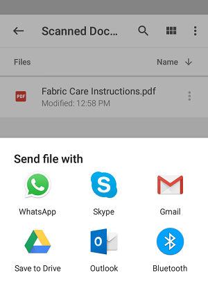 Scanned Document Send Options On Google Drive