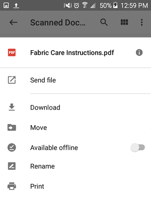 Scanned Document Share, Send, Print and Other Options On Google Drive