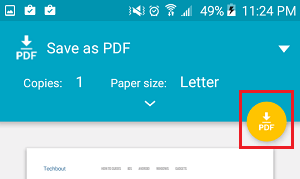 Download as PDF Icon on Android