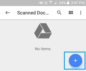 Big Blue Plus Button on Google Drive on Android Phone