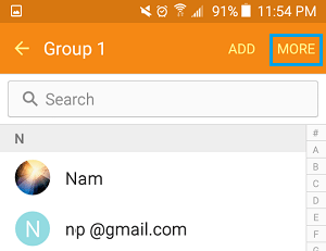 More Option for Groups on Android Phone