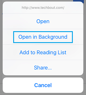Open in Background Option in Safari on iPhone