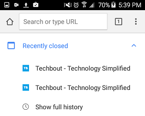 Recently Closed Tabs in Chrome on Android