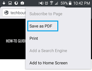 Save as PDF Option in Firefox on Android
