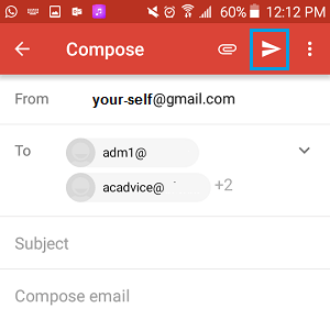 Send Group Email from Gmail on Android Phone