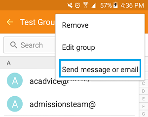 Send Group Message or Email Option on Android Phone