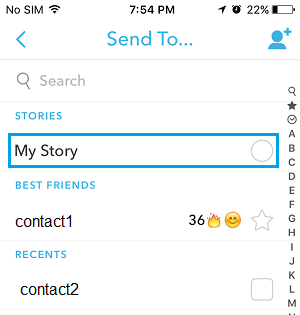 Snapchat Send to Screen