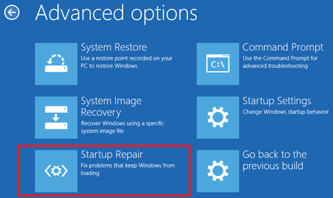 Startup Repair Option on Advanced Options Screen in Windows 10