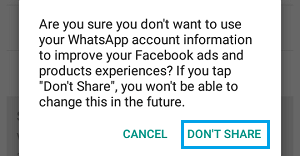 WhatsApp Don't Share Popup on Android Phone