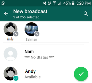 Add Contacts to WhatsApp Broadcast List On Android Phone