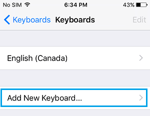 Add New Keyboard Option on iPhone