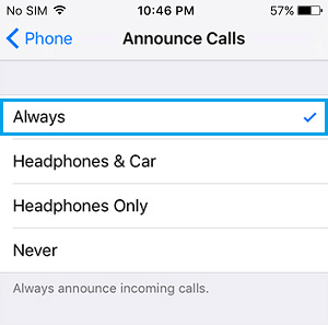 Always Announce Calls on iPhone