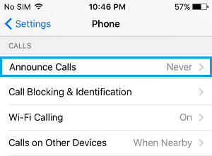 Announce Calls Settings Option on iPhone