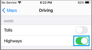 Avoid Highways Option in Apple Maps