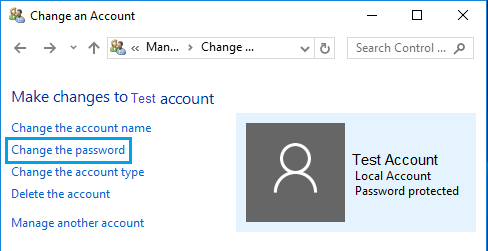 Change The User Account Password Option In Windows 10