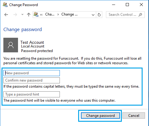 Change User Account Password Screen in Windows 10