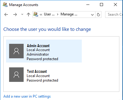 Choose The User Account To Change in Windows 10 Control Panel