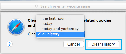Clear All Safari Browsing History Option on Mac