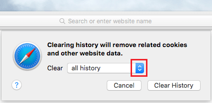 Clear Safari Browsing History Popup on Mac