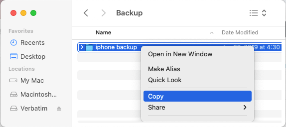 Copy iPhone Backup Folder on Mac