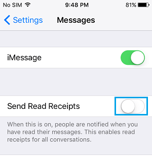 Disable Read Reciepts for All Contacts on iPhone