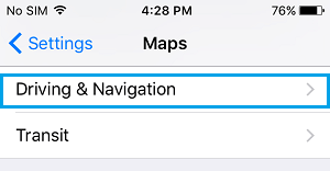 Driving and Navigation Option on Maps Screen on iPhone