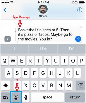 Emoji Icon on Apple Keyboard on iPhone