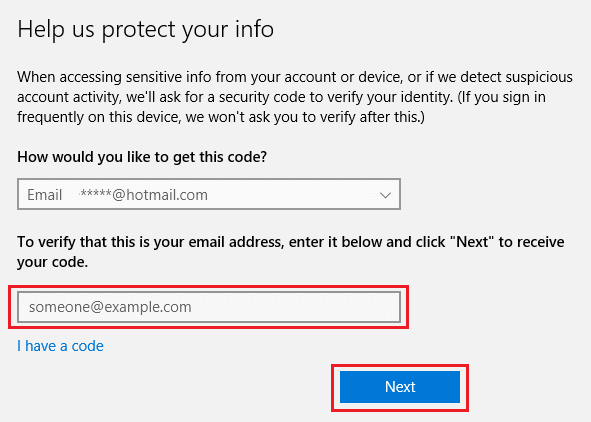 Enter Microsoft Account Verification Code in Windows 10